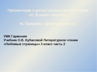 Презентация к уроку литературного чтения: «С. Есенин «Берёза», М. Пришвин «Де