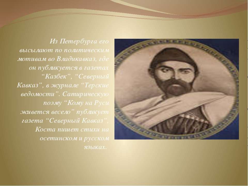 Из Петербурга его высылают по политическим мотивам во Владикавказ, где он пуб...