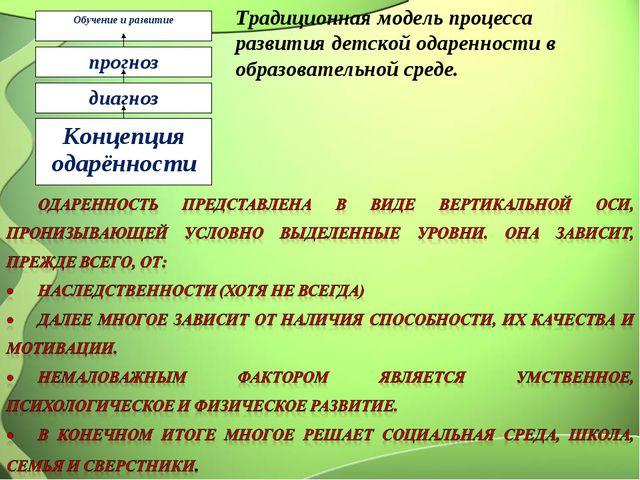 Обучение и развитие прогноз диагноз Концепция одарённости Традиционная модель...
