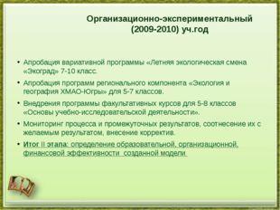 Организационно-экспериментальный (2009-2010) уч.год Апробация вариативной пр