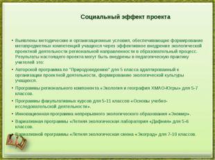 Социальный эффект проекта Выявлены методические и организационные условия, о