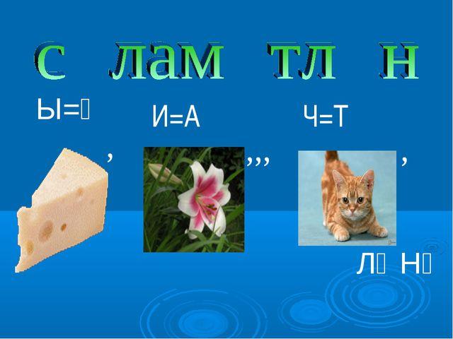 Ы=Ә ЛӘНҮ , , ,,, И=А Ч=Т