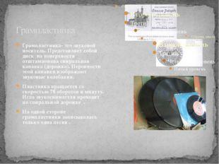 Грампластинка Грампластинка- это звуковой носитель. Представляет собой диск н