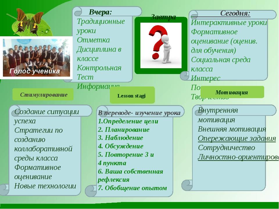 Вчера: Традиционные уроки Отметка Дисциплина в классе Контрольная Тест Инфор...