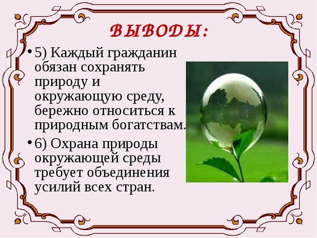 ВЫВОДЫ: 5) Каждый гражданин обязан сохранять природу и окружающую среду, бере...