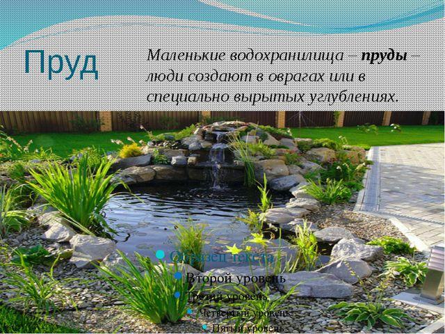 Пруд Маленькие водохранилища – пруды – люди создают в оврагах или в специальн...