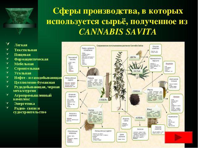 Сферы производства, в которых используется сырьё, полученное из CANNABIS SAVI...