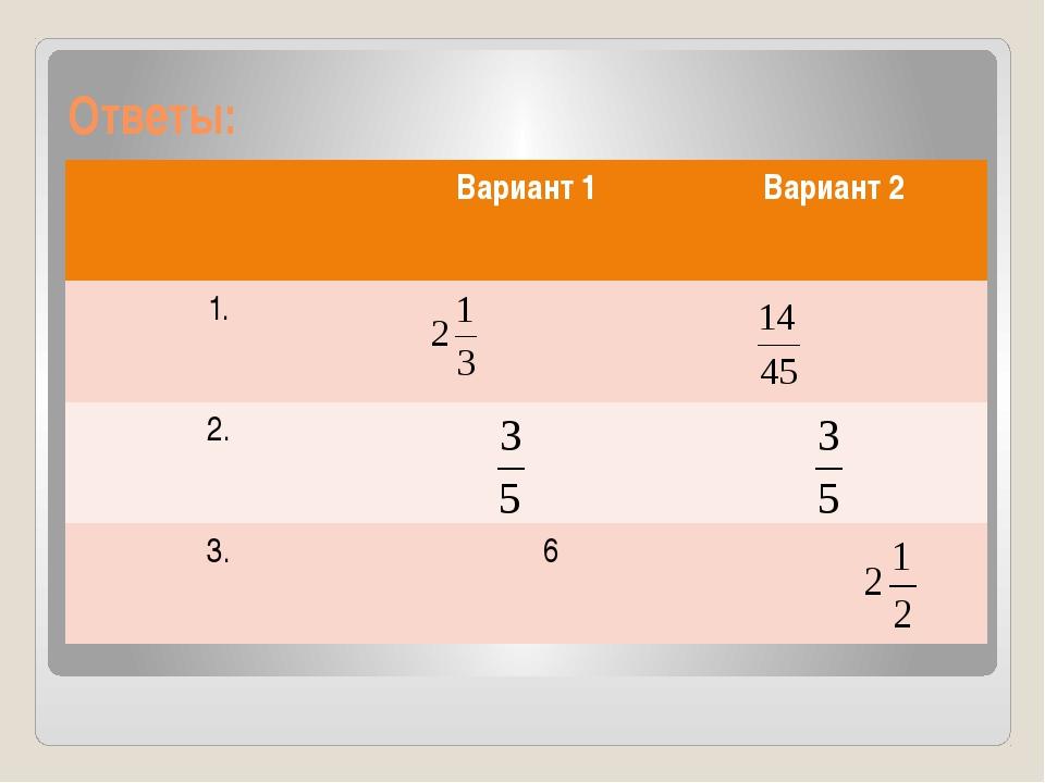 Ответы: Вариант 1 Вариант 2 1. 2. 3. 6