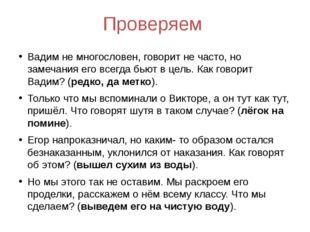 Проверяем Вадим не многословен, говорит не часто, но замечания его всегда бью