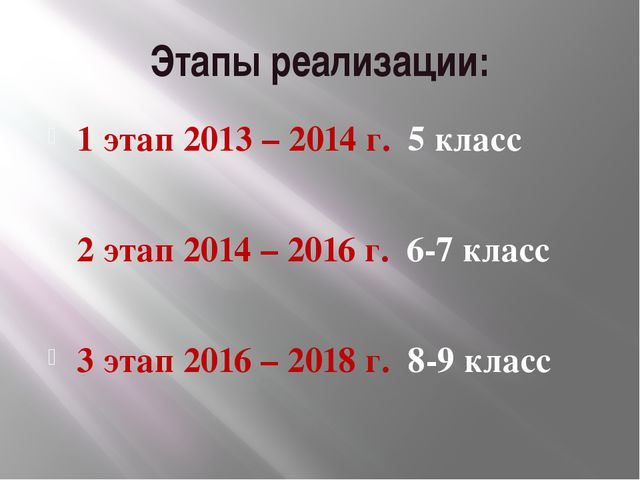 Этапы реализации: 1 этап 2013 – 2014 г. 5 класс 2 этап 2014 – 2016 г. 6-7 кла...