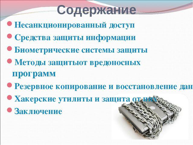 Содержание Несанкционированный доступ Средства защиты информации Биометрическ...