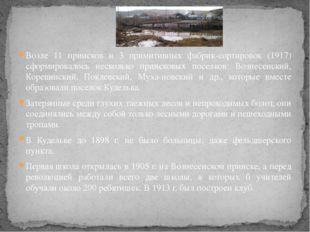 Возле 11 приисков и 3 примитивных фабрик-сортировок (1917) сформировалось нес