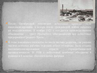 После Октябрьской революции асбестовые прииски были национализированы, а вск
