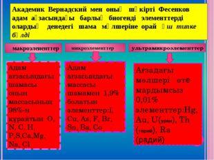 Академик Вернадский мен оның шәкірті Фесенков адам ағзасындағы барлық биогенд