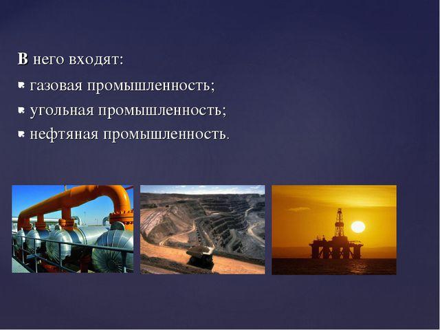 В него входят: газовая промышленность; угольная промышленность; нефтяная пром...