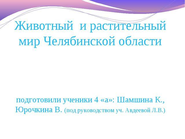 Животный и растительный мир Челябинской области подготовили ученики 4 «а»: Ша...