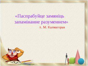 «Паспрабуйце замяніць запамінанне разуменнем» А. М. Калмагорав