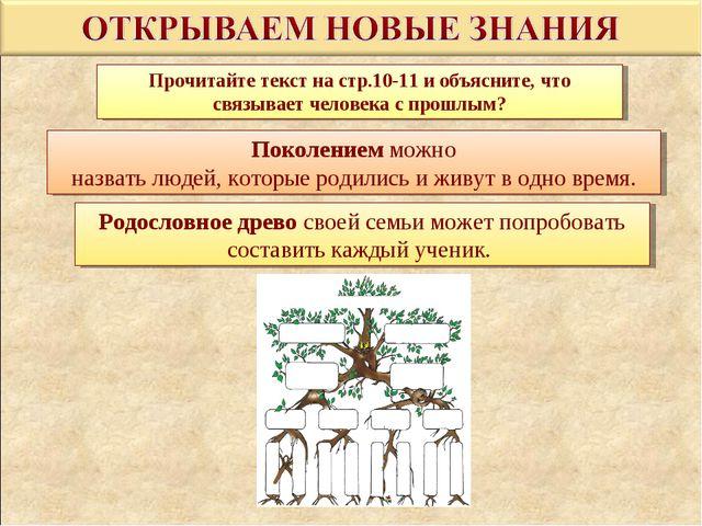 Прочитайте текст на стр.10-11 и объясните, что связывает человека с прошлым?...