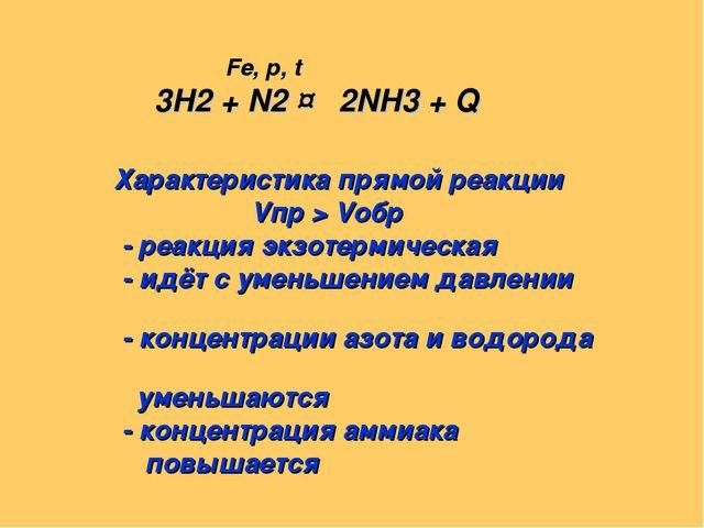 Fe, p, t 3H2 + N2 ↔ 2NH3 + Q Характеристика прямой реакции Vпр > Vобр - реак...