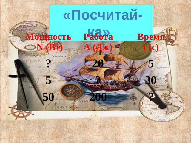 «Посчитай-ка» Мощность N(Вт) Работа А (Дж) Время t(с) ? 20 5 5 ? 30 50 200 ?
