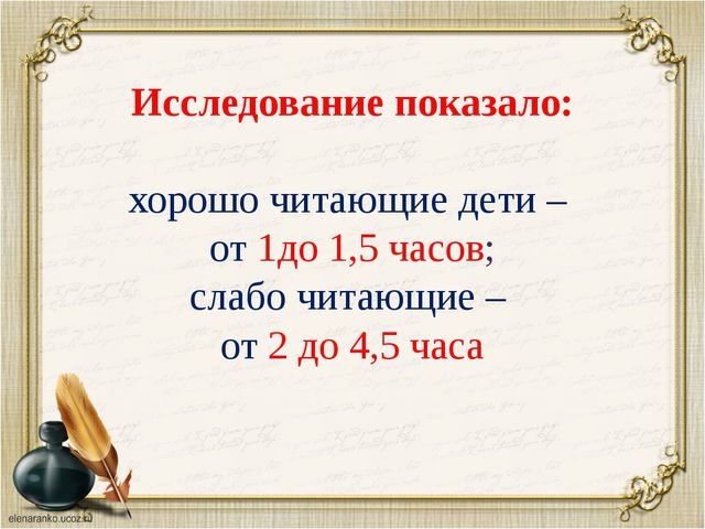 Исследование показало: хорошо читающие дети – от 1до 1,5 часов; слабо читающ...