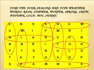 FIND THE FOUR SEASONS AND FIVE WEATHER WORDS: RAIN, SUMMER, WINTER, SPRING, S