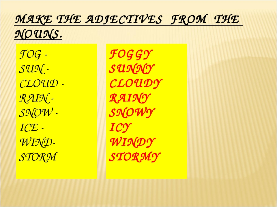 MAKE THE ADJECTIVES FROM THE NOUNS. FOG - SUN - CLOUD - RAIN - SNOW - ICE - W...