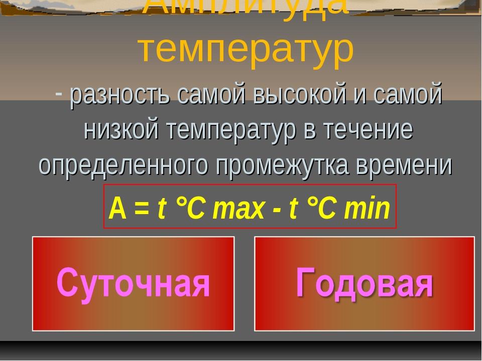 Амплитуда температур разность самой высокой и самой низкой температур в течен...