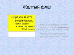 Желтый флаг «Опасность». Сигнал опасности .Информирует Водителей о возникшей