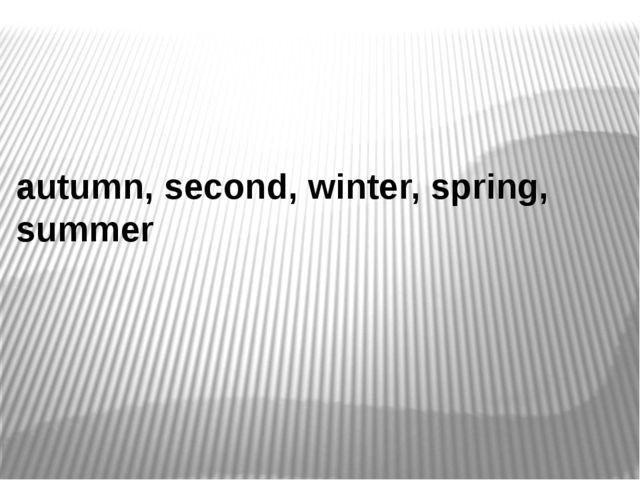 autumn, second, winter, spring, summer