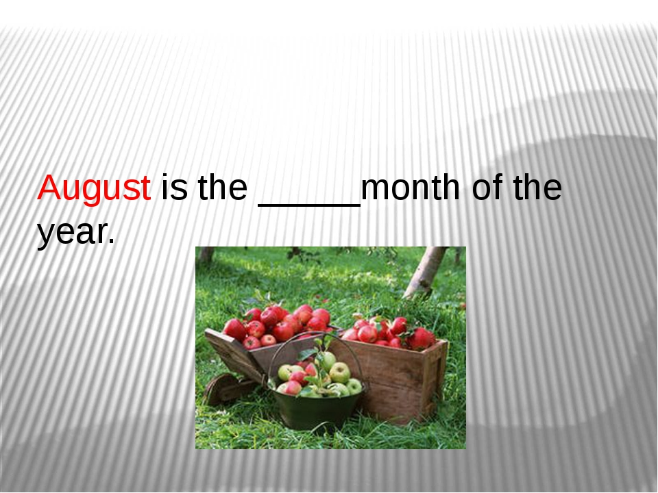 August is the _____month of the year.