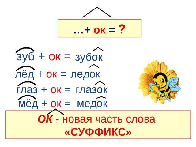 …+ ок = ? зуб + ок = лёд + ок = глаз + ок = мёд + ок =