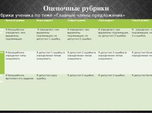Оценочные рубрики Рубрики ученика по теме «Главные члены предложения» Критери