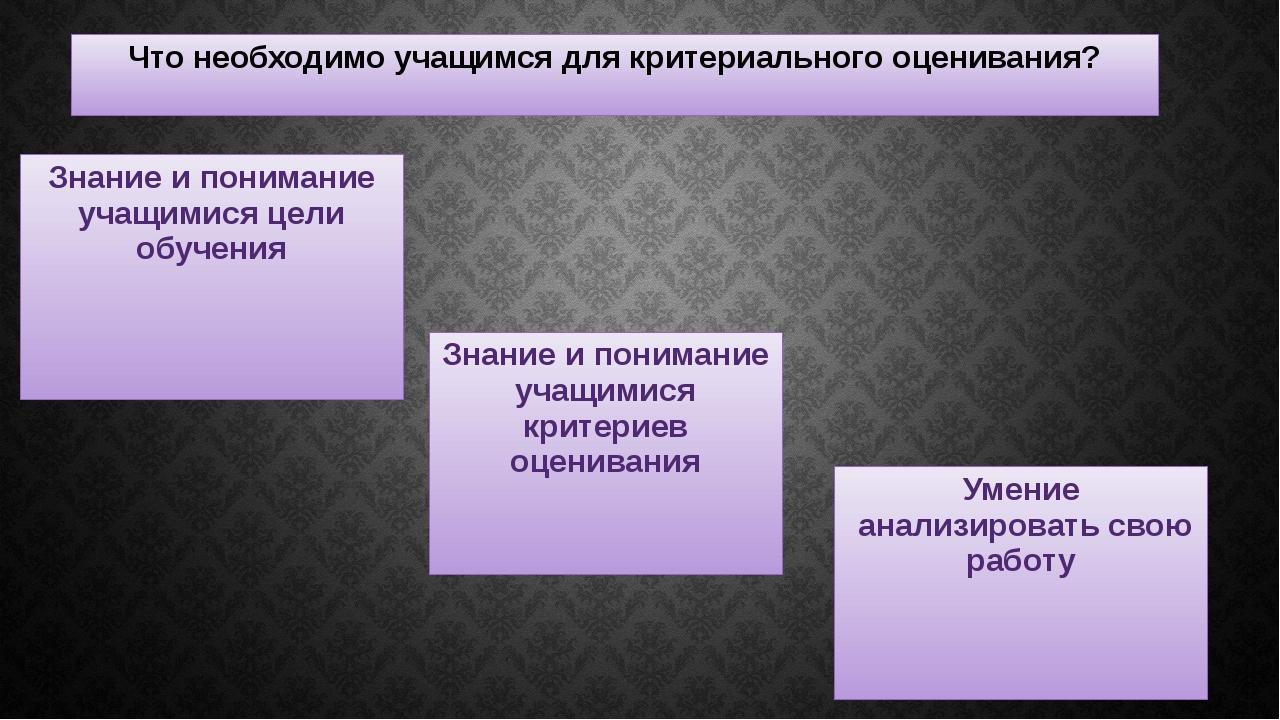 Что необходимо учащимся для критериального оценивания? Знание и понимание уча...