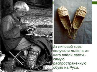 Из липовой коры получали лыко, а из него плели лапти - самую распространенну