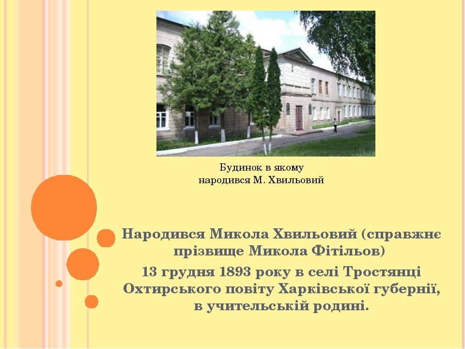 Народився Микола Хвильовий (справжнє прізвище Микола Фітільов) 13 грудня 1893...