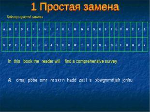 Таблица простой замены In this book the reader will find a comprehensive surv
