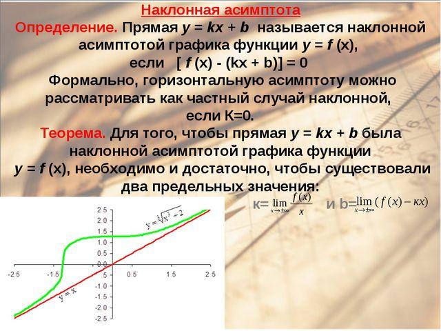 Наклонная асимптота Определение. Прямая y = kx + b называется наклонной асимп...
