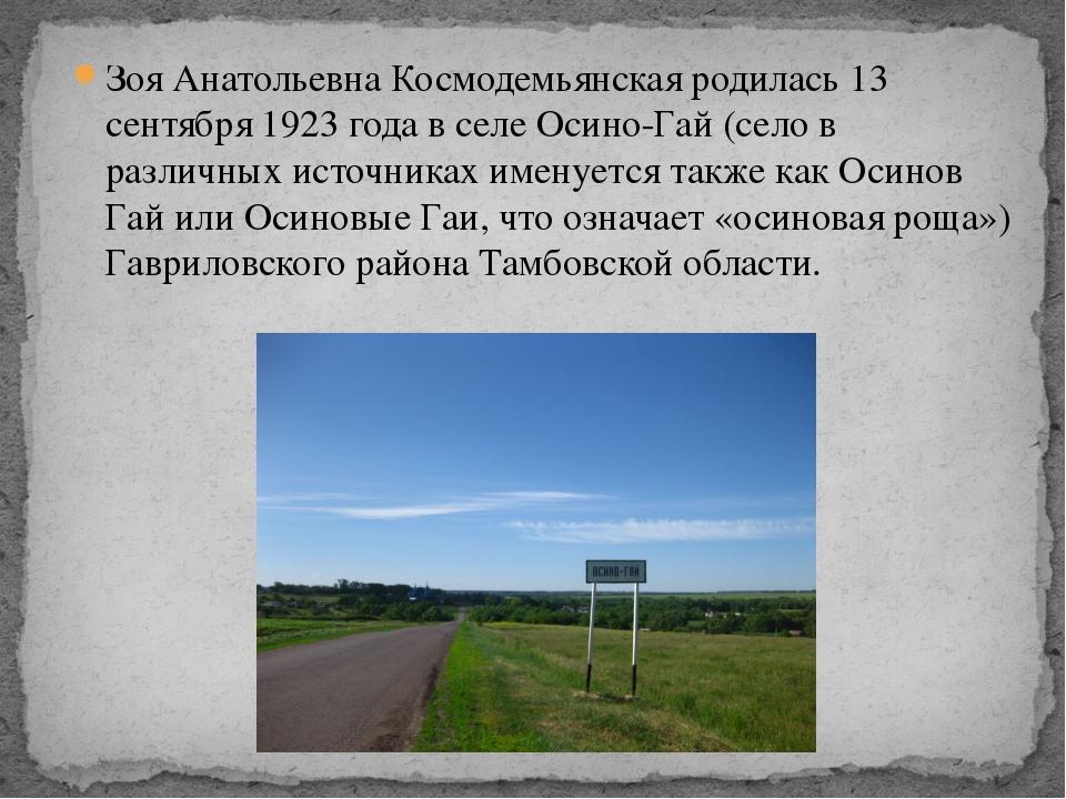 Зоя Анатольевна Космодемьянская родилась 13 сентября 1923 года в селе Осино-Г...