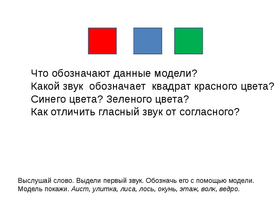 Что обозначают данные модели? Какой звук обозначает квадрат красного цвета? С...