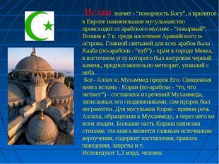 """Ислам значит - """"покорность Богу"""", а принятое в Европе наименование мусульман"""