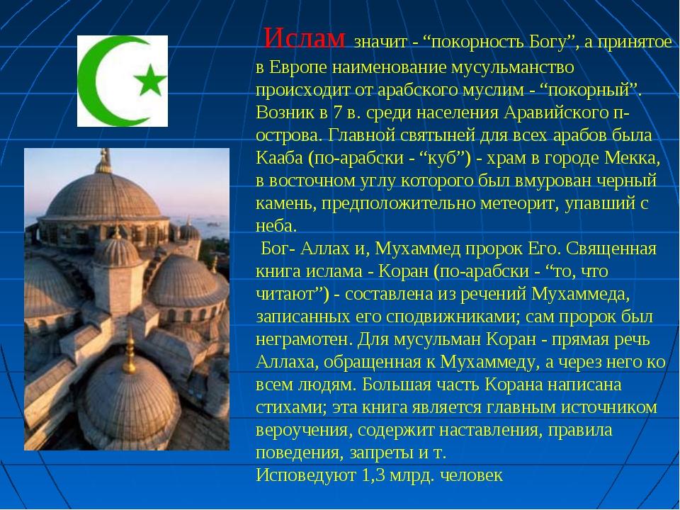 """Ислам значит - """"покорность Богу"""", а принятое в Европе наименование мусульман..."""