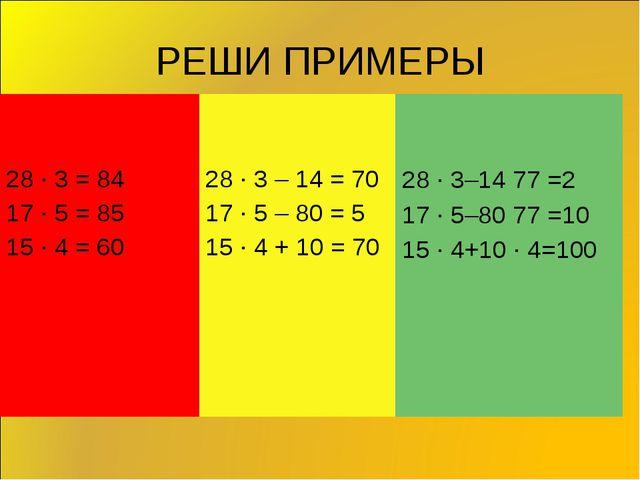 РЕШИ ПРИМЕРЫ 28 ∙ 3 = 17 ∙ 5 = 15 ∙ 4 = 28 ∙ 3 – 14 = 17 ∙ 5 – 80 = 15 ∙ 4 +...