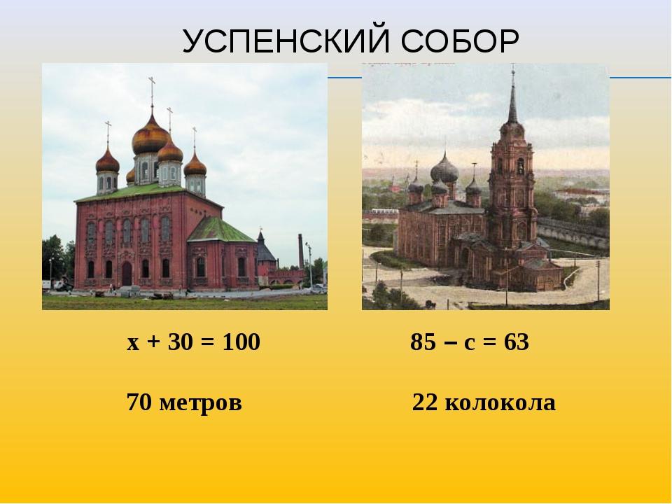 УСПЕНСКИЙ СОБОР х + 30 = 100 85 – с = 63 70 метров 22 колокола