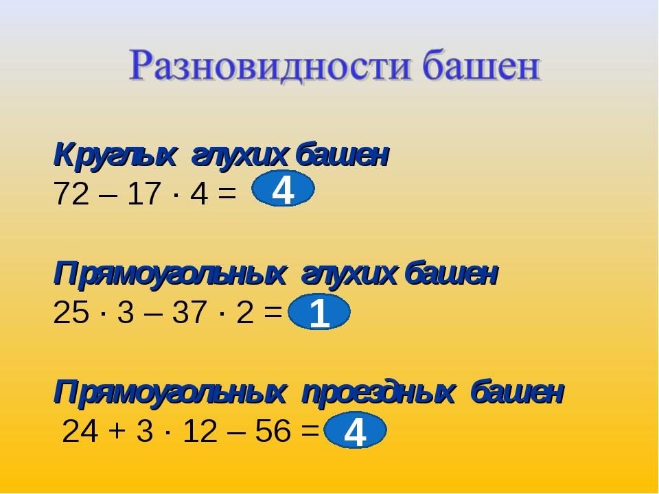 Круглых глухих башен 72 – 17 ∙ 4 = Прямоугольных глухих башен 25 ∙ 3 – 37 ∙ 2...