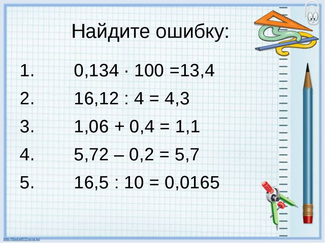Найдите ошибку: 0,134 · 100 =13,4 16,12 : 4 = 4,3 1,06 + 0,4 = 1,1 5,72 – 0,2...