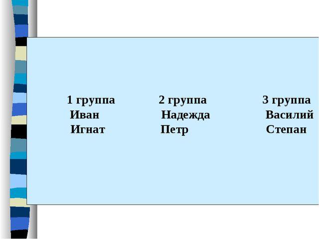 1 группа 2 группа 3 группа Иван Надежда Василий Игнат Петр Степан