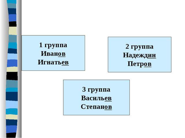 1 группа Иванов Игнатьев 3 группа Васильев Степанов 2 группа Надеждин Петров