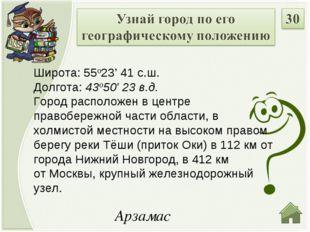 Арзамас Широта: 55о23' 41 с.ш. Долгота: 43о50' 23 в.д. Город расположен в цен