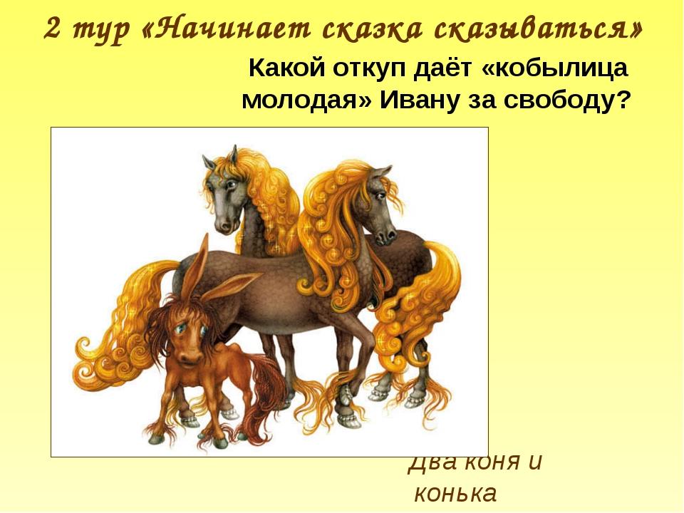 2 тур «Начинает сказка сказываться» Два коня и конька Какой откуп даёт «кобыл...